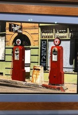 """Mark Clifford Red Gas Pumps, 16"""" by 20"""" framed photographic print"""