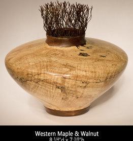 Guest Artist, Jeff Strickler 2019-02 Maple & Walnut Urn (wires) Jeff Strickler