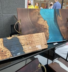"""Ron and Ellie Purvis MHC - """"Final Frontier"""" Maple Burl Wood & Resin Cribbage Board"""
