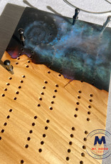 """Ron and Ellie Purvis MHC - """"Galaxy"""" Maple Wood & Resin Cribbage Board"""