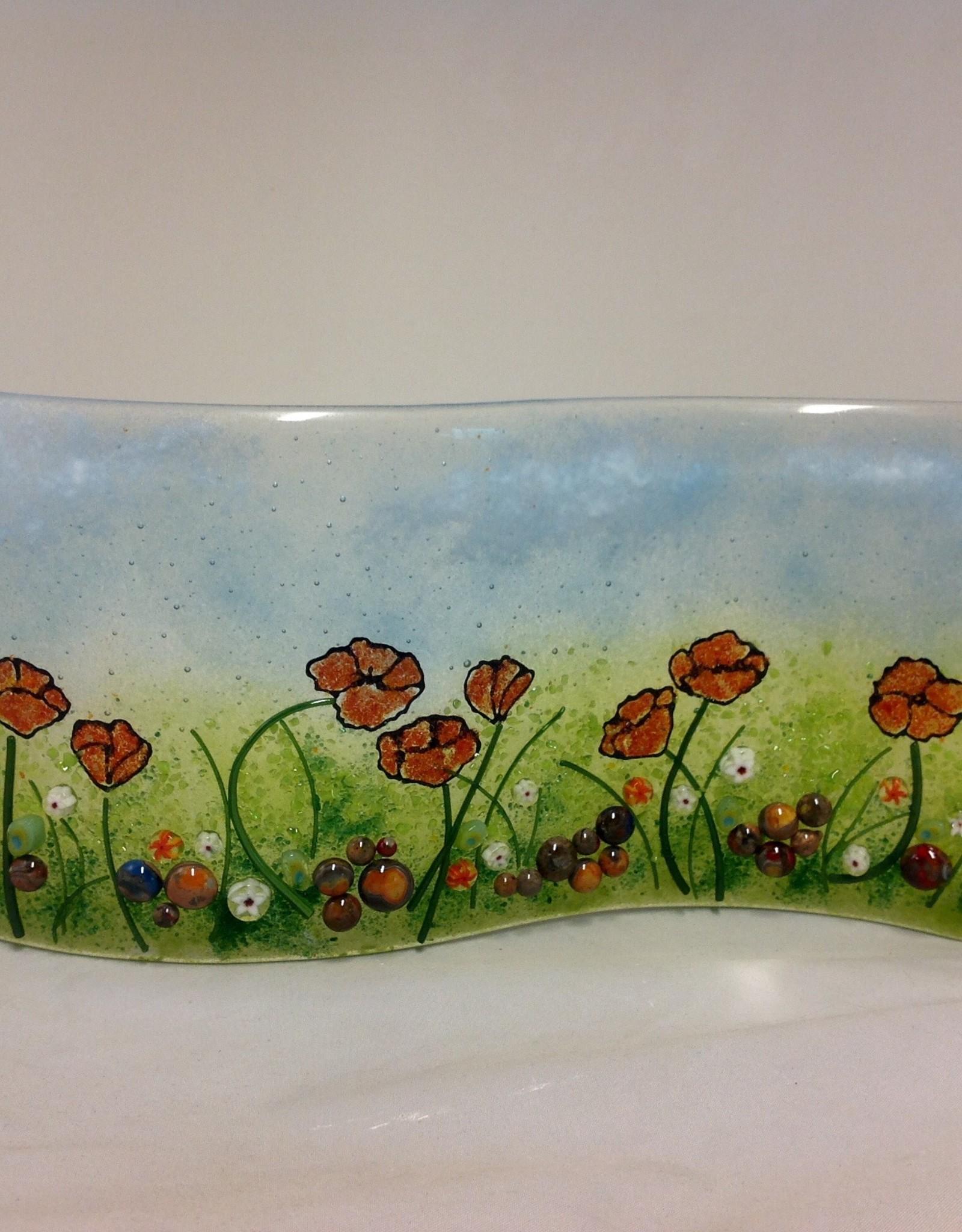 Ann Mackiernan Poppy and Wildflowers Fused Glass Garden Sculpture