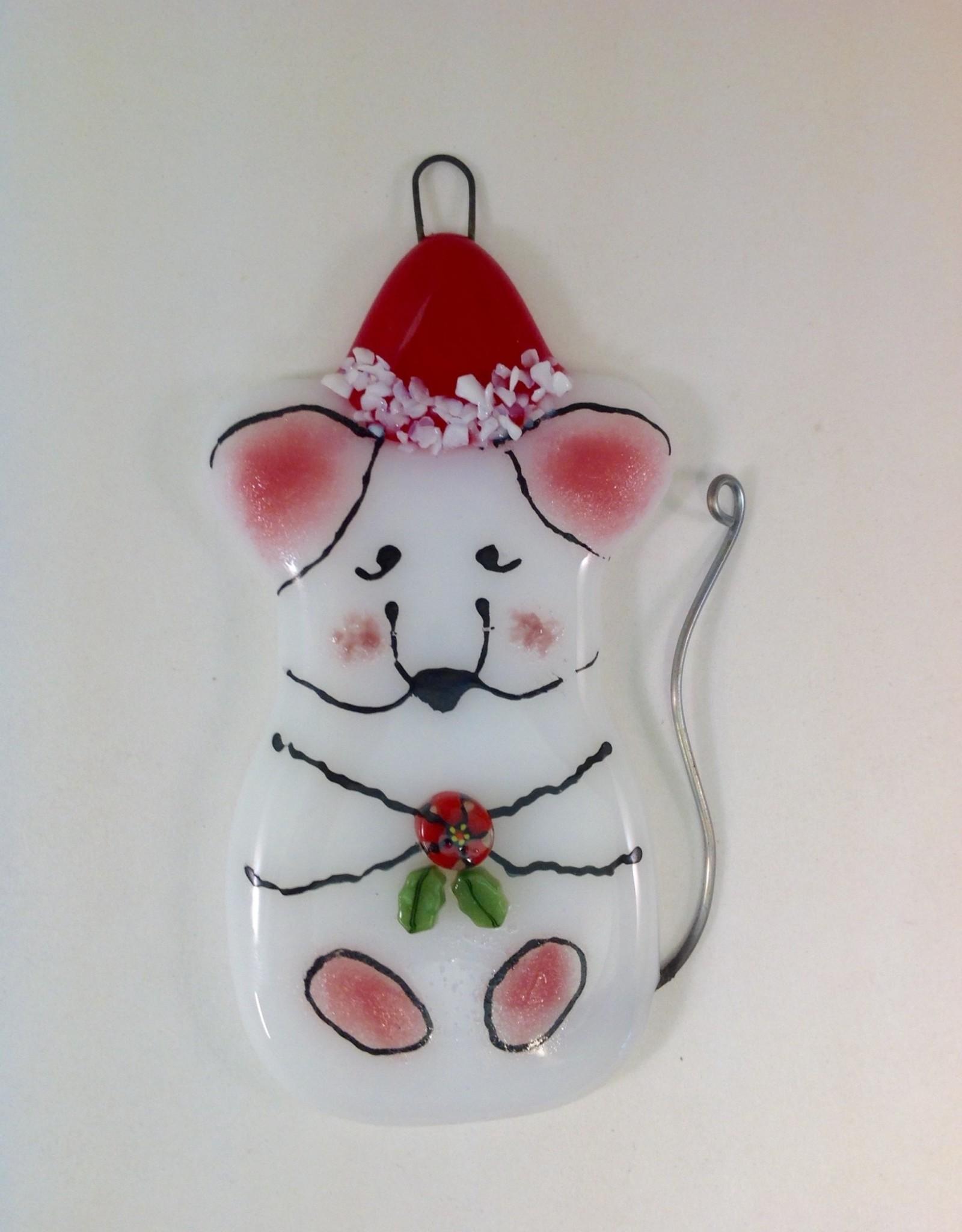 Ann Mackiernan Fused Glass Christmas Mouse Ornament