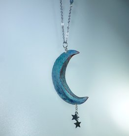 Anne Johnson AJE - Moon-n-Stars Pendant / Blue Turquoise