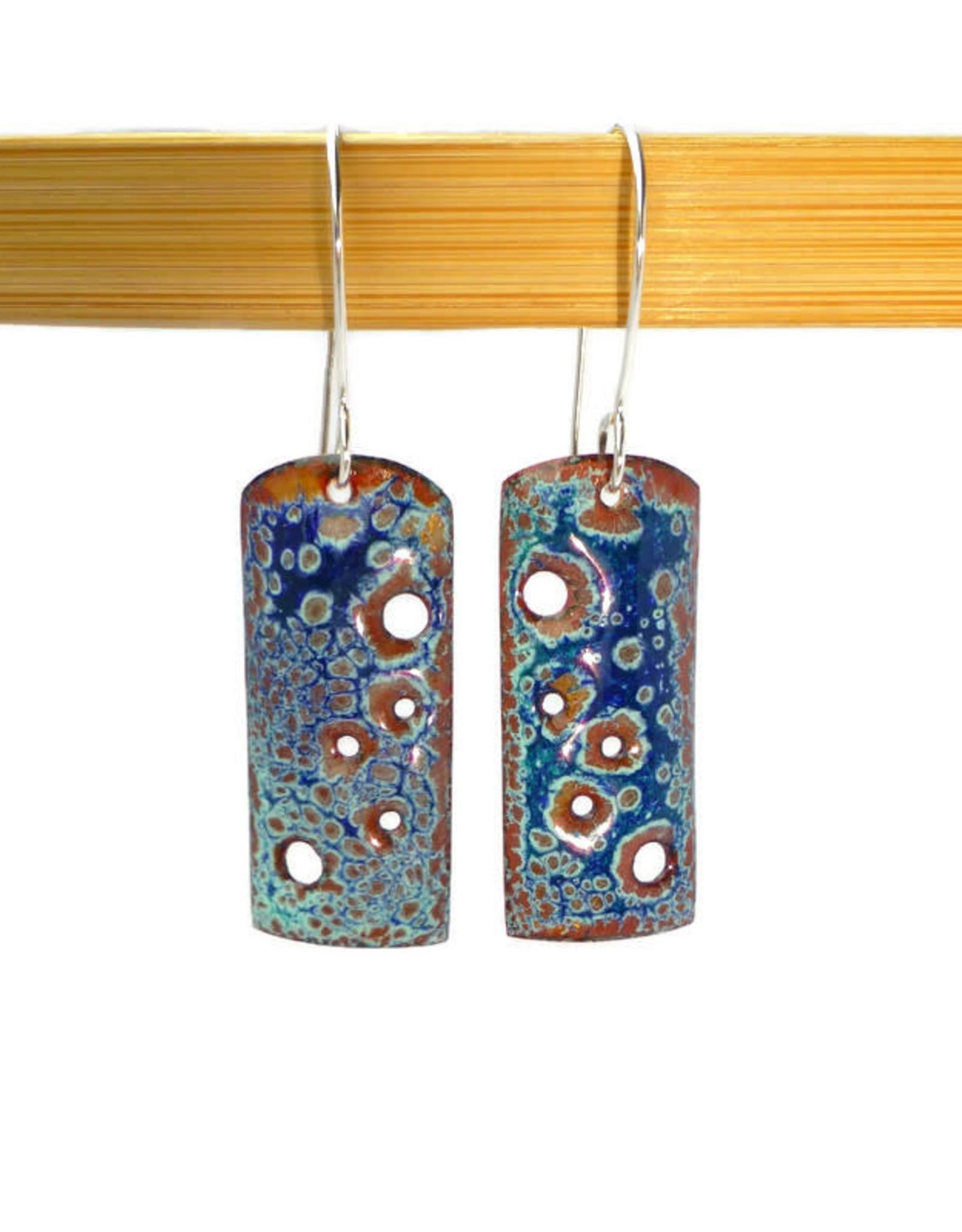 """Anne Johnson AJE - Enamel Earrings """"Pierced """" - crackle blue"""