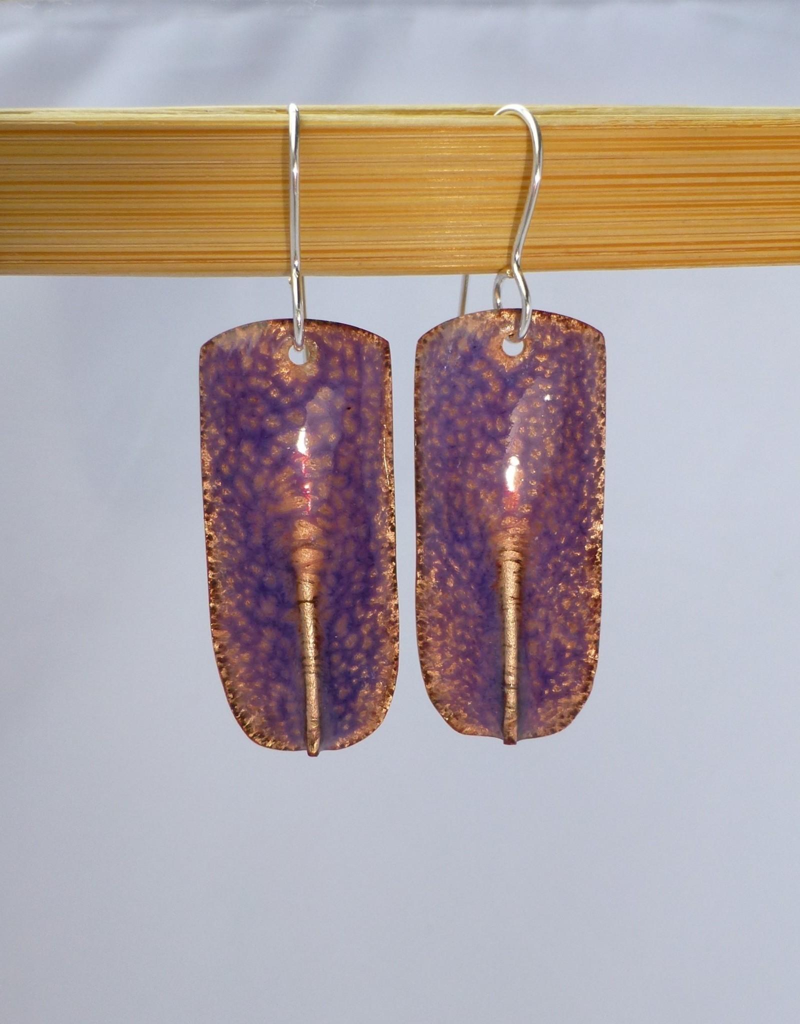 """Anne Johnson AJE - Enamel Earrings """"Pinched """" - crackle purple"""