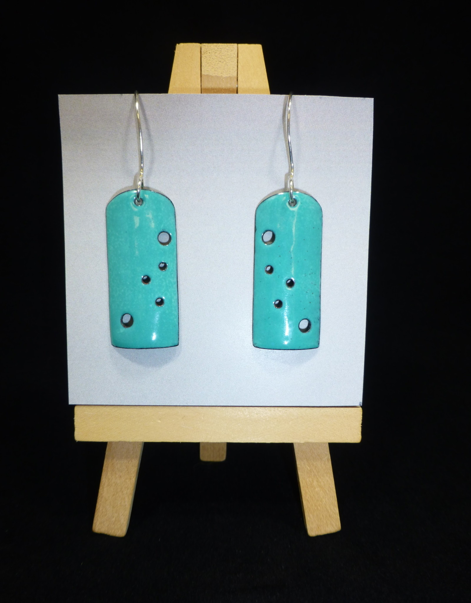 """Anne Johnson AJE - Enamel Earrings """"Pierced """" - solid turquoise"""