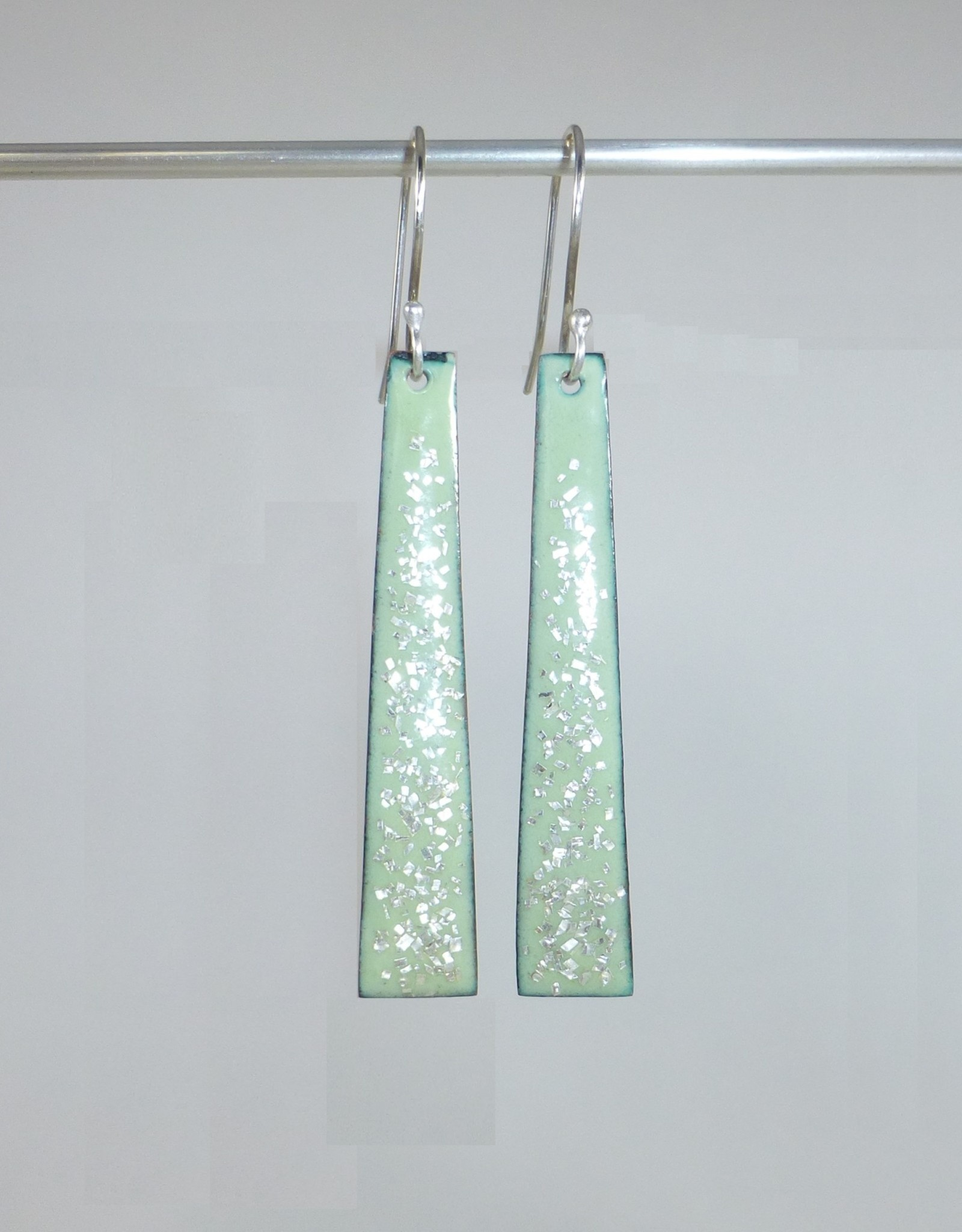 Anne Johnson AJE - Dangle Earrings - Lichen & Silver Glitter