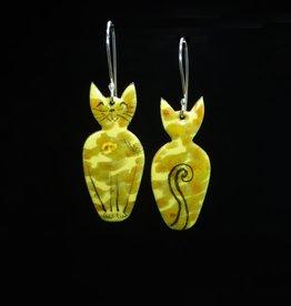 Anne Johnson AJE - Meow! Earrings - Yellow Tabby Cat