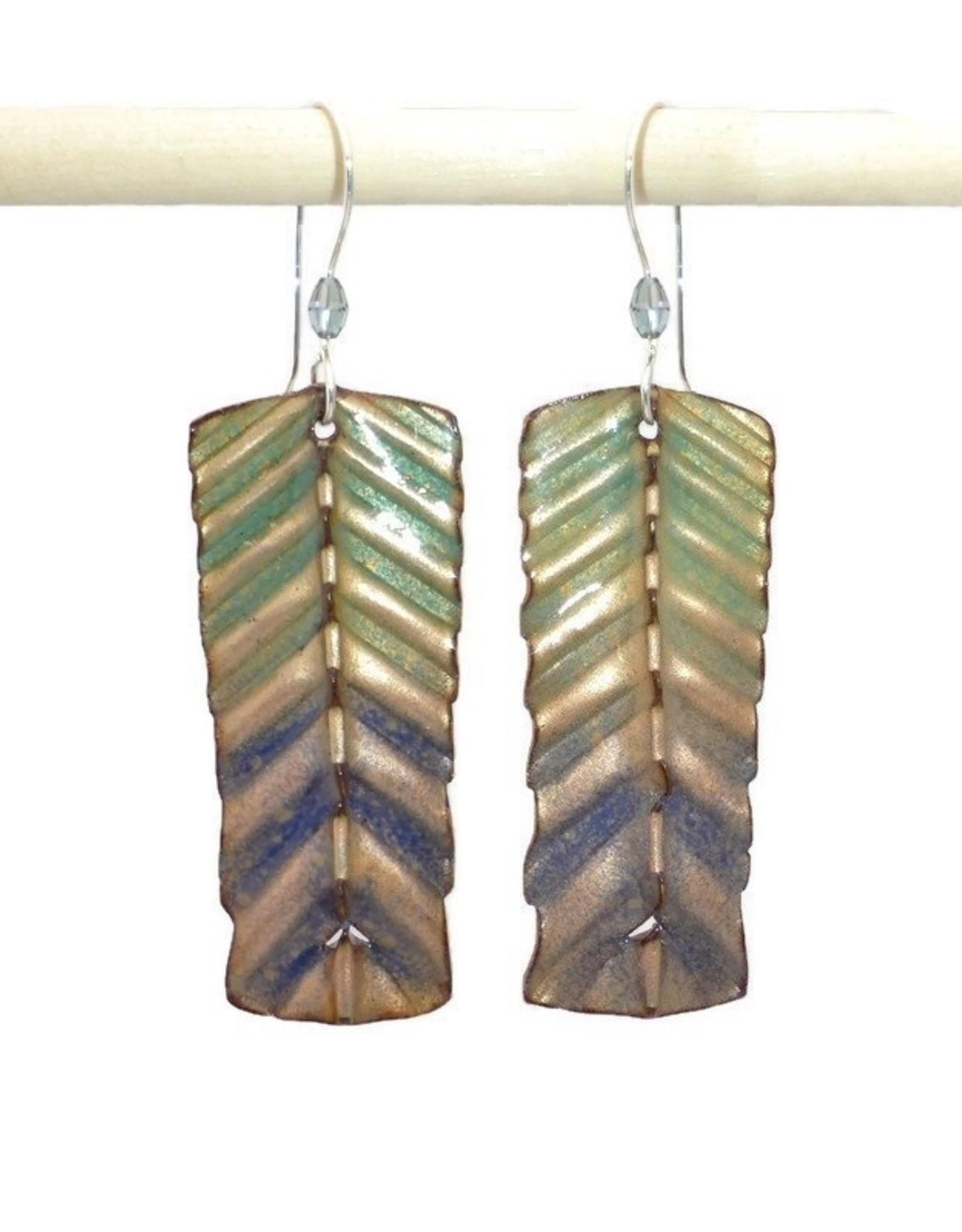Anne Johnson AJE - Enamel Earrings - Corrugated Chevron