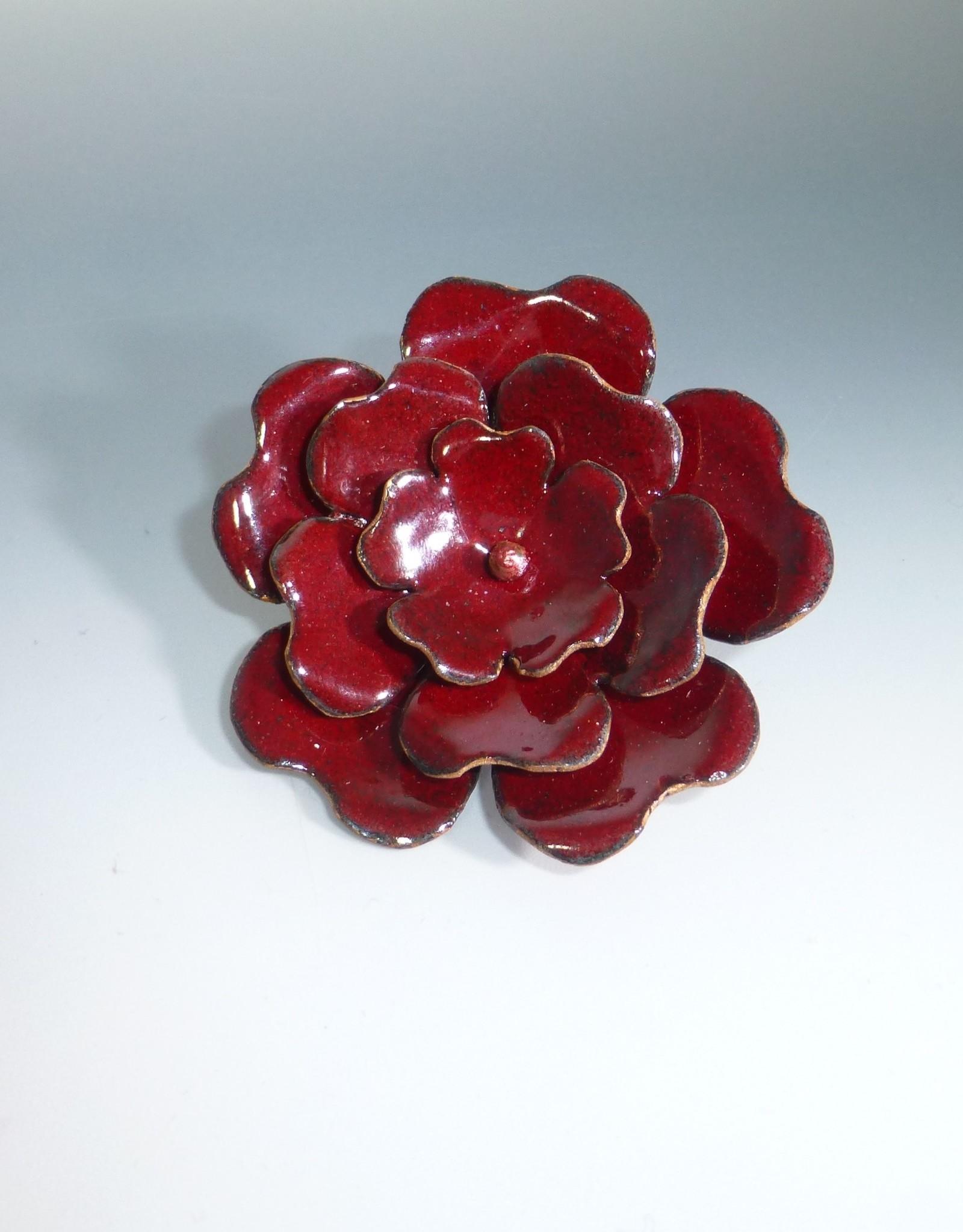 Anne Johnson AJE - Enameled Flower Brooch Crimson