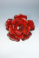Anne Johnson AJE - Enameled Flower Brooch Red