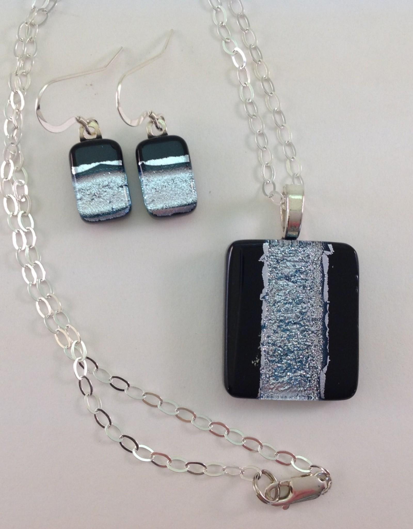 Ann Mackiernan Fused Glass Pendant & Earring Set - PE12