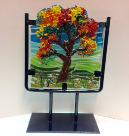 Ann Mackiernan Owl House Fused Glass Sculpture