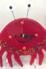 Ann Mackiernan Happy Crab Fused Glass Wall Clock