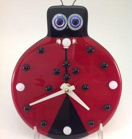 Ann Mackiernan Lady Bug Fused Glass Wall Clock