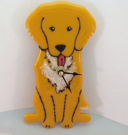 Ann Mackiernan Puppy Love Fused Glass Wall Clock