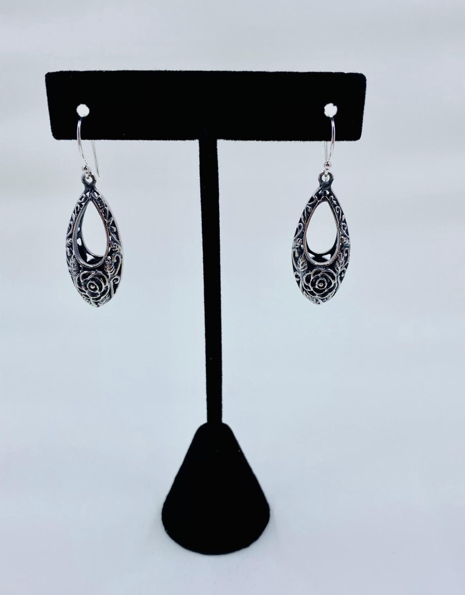 Silver Rose Drop Earrings