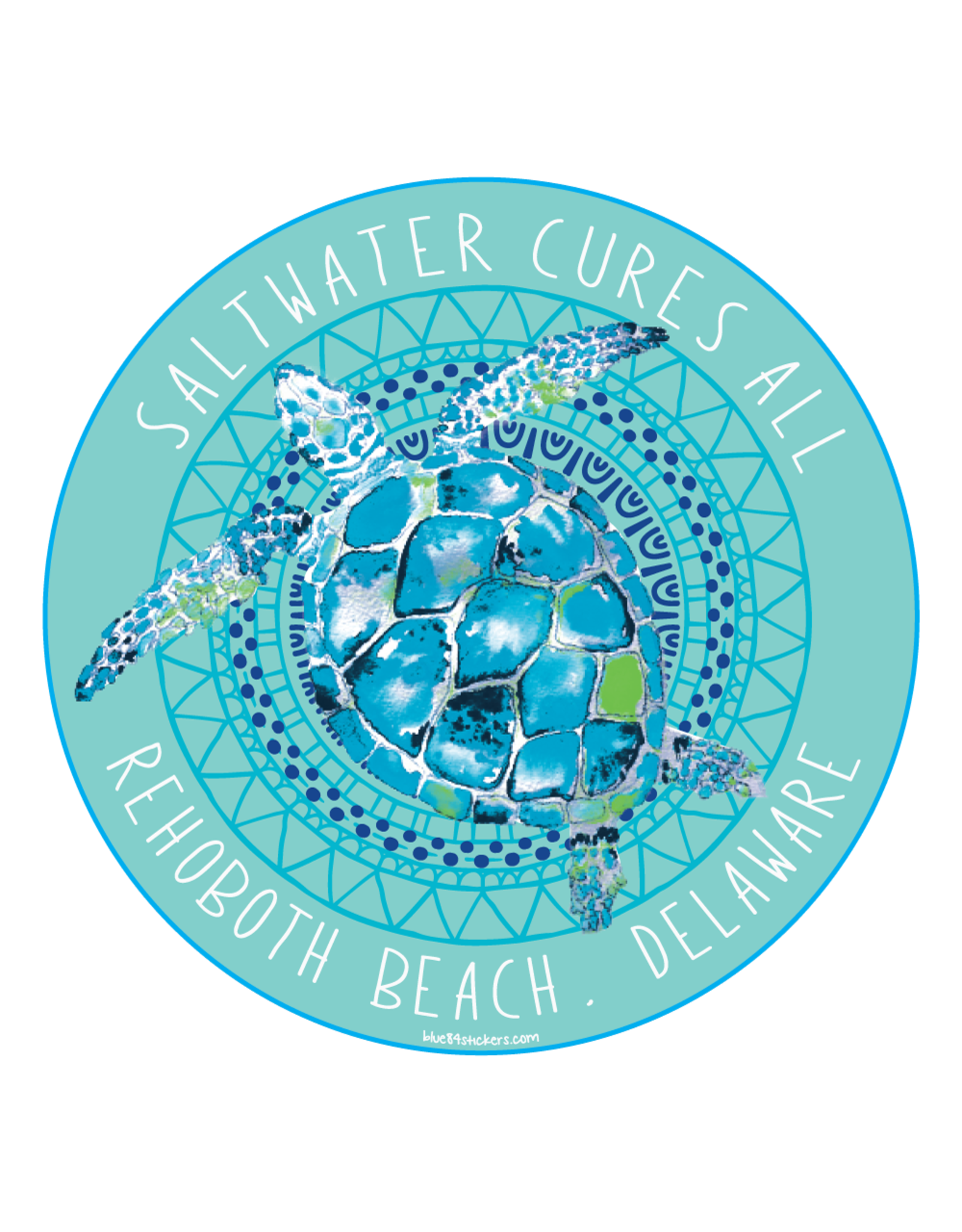 BLUE 84 BEACH STICKER SALTWATER CURES ALL SEA TURTLES