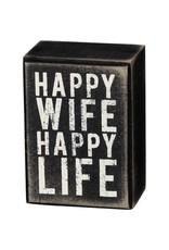 PRIMITIVES BY KATHY ATTITUDE BLOCK SIGNS HAPPY WIFE HAPPY LIFE