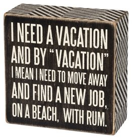 PRIMITIVES BY KATHY ATTITUDE BLOCK SIGNS VACATION ON THE BEACH WITH RUM