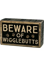 PRIMITIVES BY KATHY PET LOVER BLOCK SIGNS BEWARE OF WIGGLEBUTTS