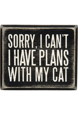 PRIMITIVES BY KATHY PET LOVER BLOCK SIGNS I HAVE PLANS WITH MY CAT