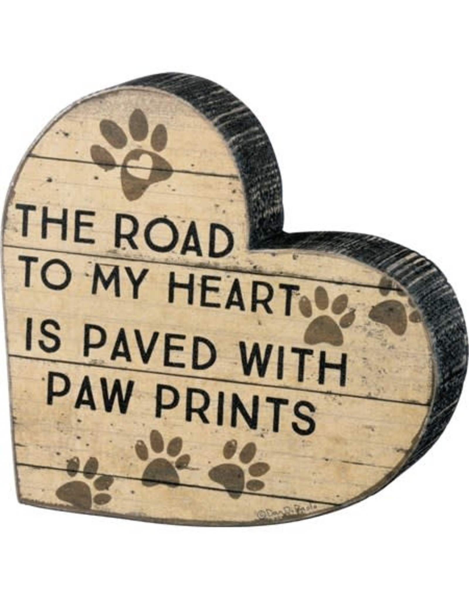 PRIMITIVES BY KATHY PET LOVER BLOCK SIGNS ROAD PAVED WITH PAW PRINTS