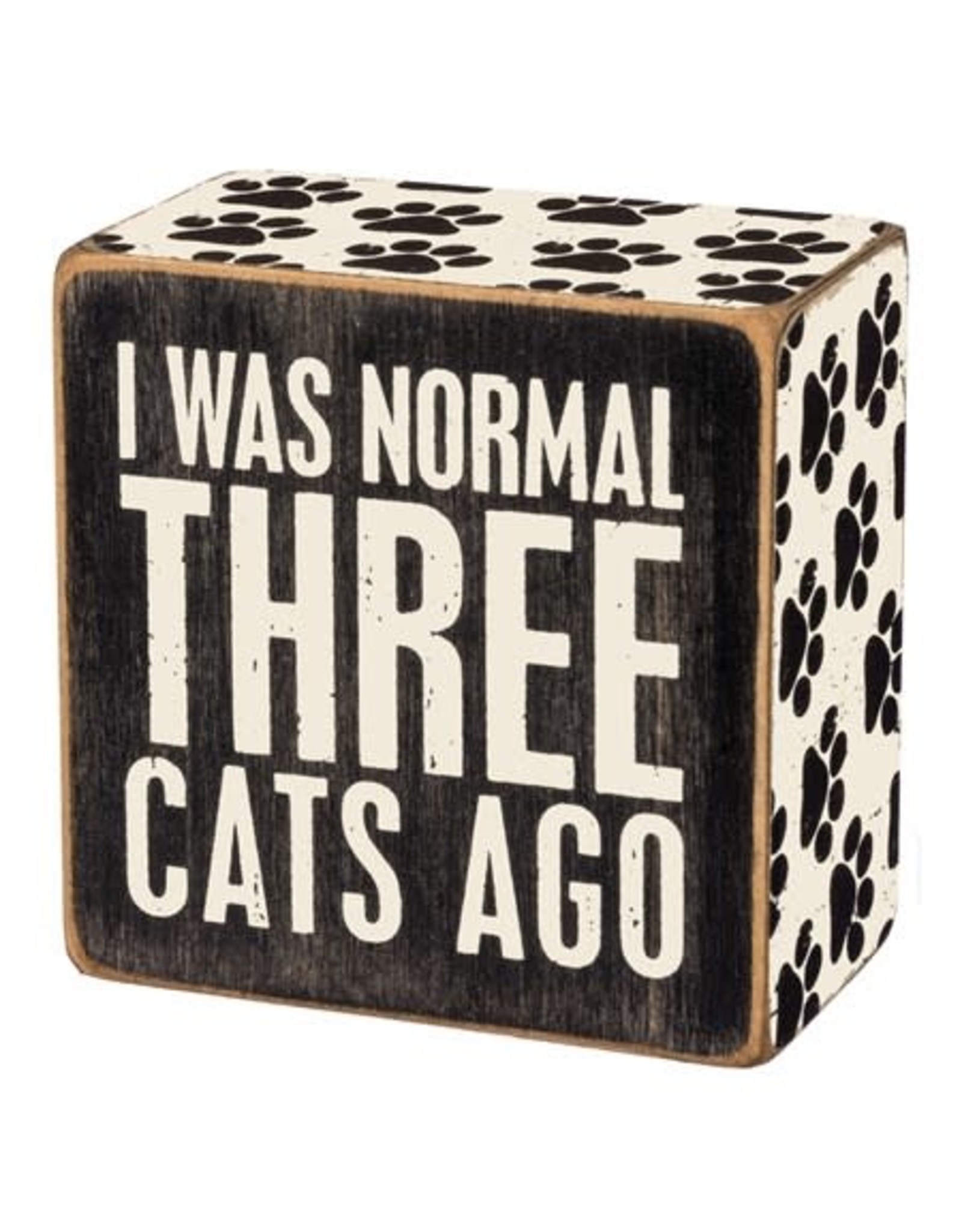PRIMITIVES BY KATHY PET LOVER BLOCK SIGNS NORMAL THREE CATS AGO