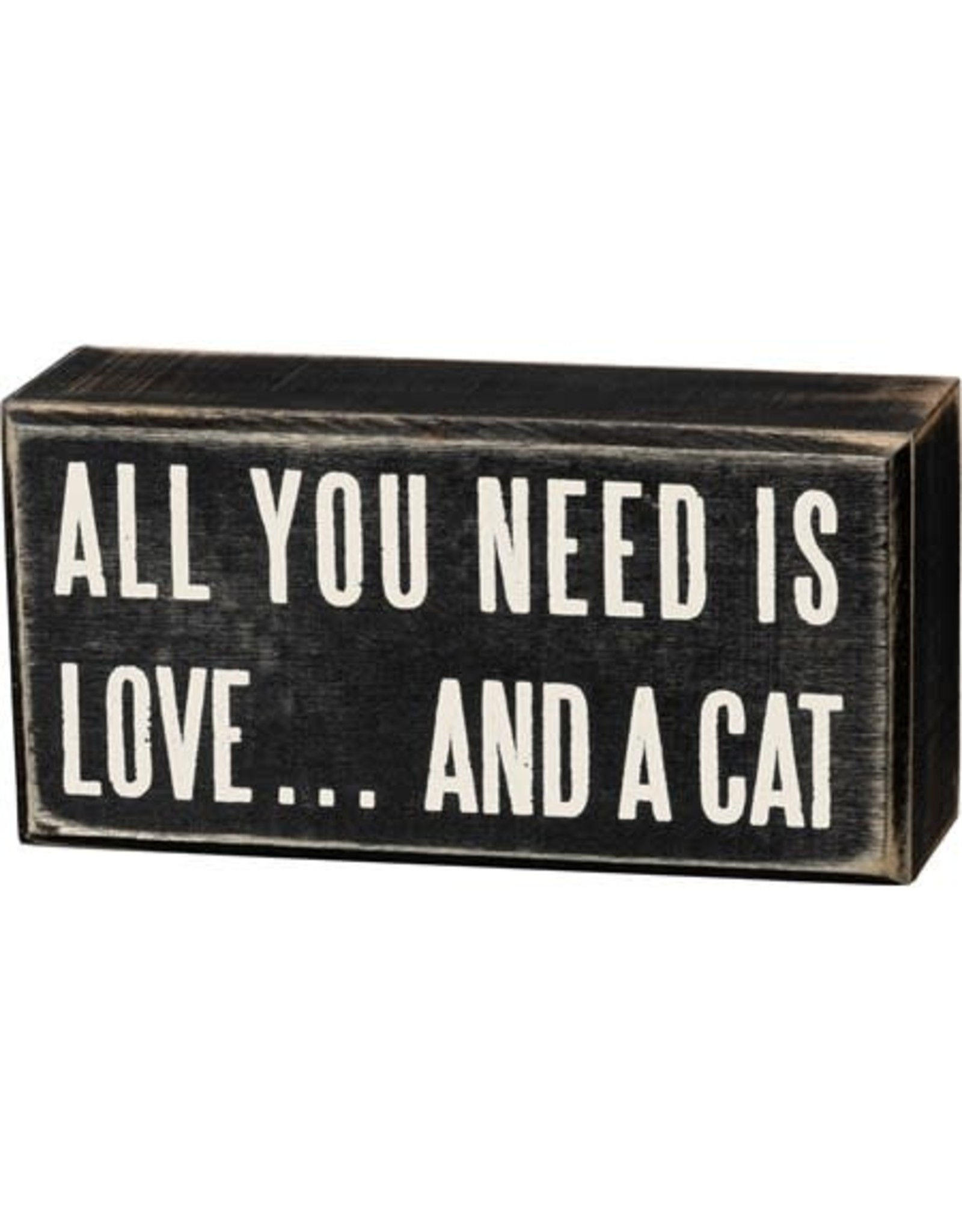 PRIMITIVES BY KATHY PET LOVER BLOCK SIGNS LOVE AND A CAT