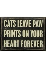 PRIMITIVES BY KATHY PET LOVER BLOCK SIGNS CATS LEAVE PAW PRINTS HEART FOREVER