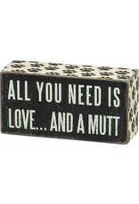 PRIMITIVES BY KATHY PET LOVER BLOCK SIGNS LOVE AND A MUTT
