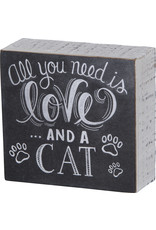 PRIMITIVES BY KATHY PET LOVER BLOCK SIGNS LOVE AND A CAT CHALK