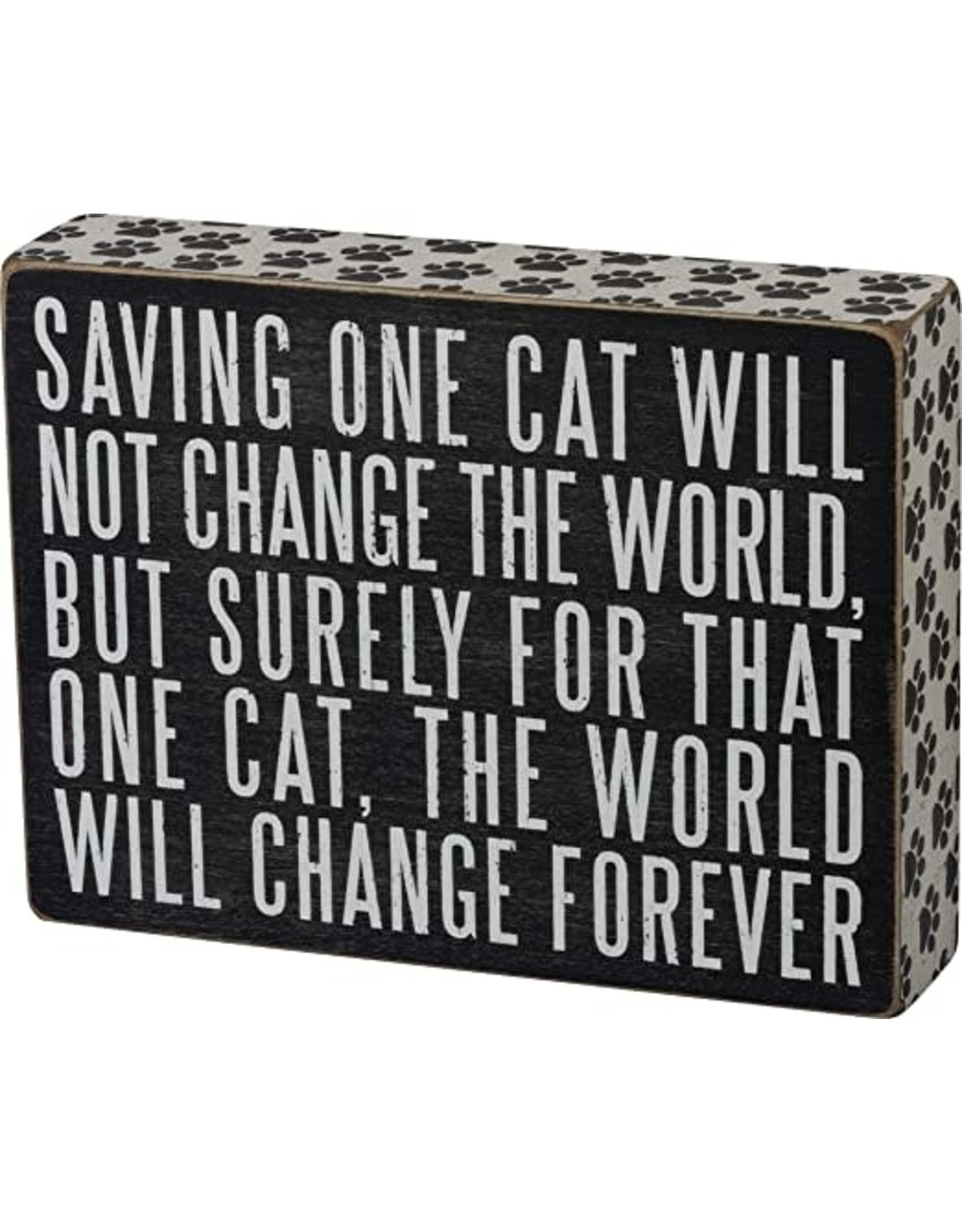 PRIMITIVES BY KATHY PET LOVER BLOCK SIGNS SAVING ONE CAT