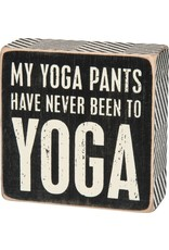 PRIMITIVES BY KATHY ATTITUDE BLOCK SIGNS YOGA PANTS HAVEN'T BEEN TO YOGA