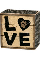 PRIMITIVES BY KATHY PET LOVER BLOCK SIGNS LOVE PAW PRINT
