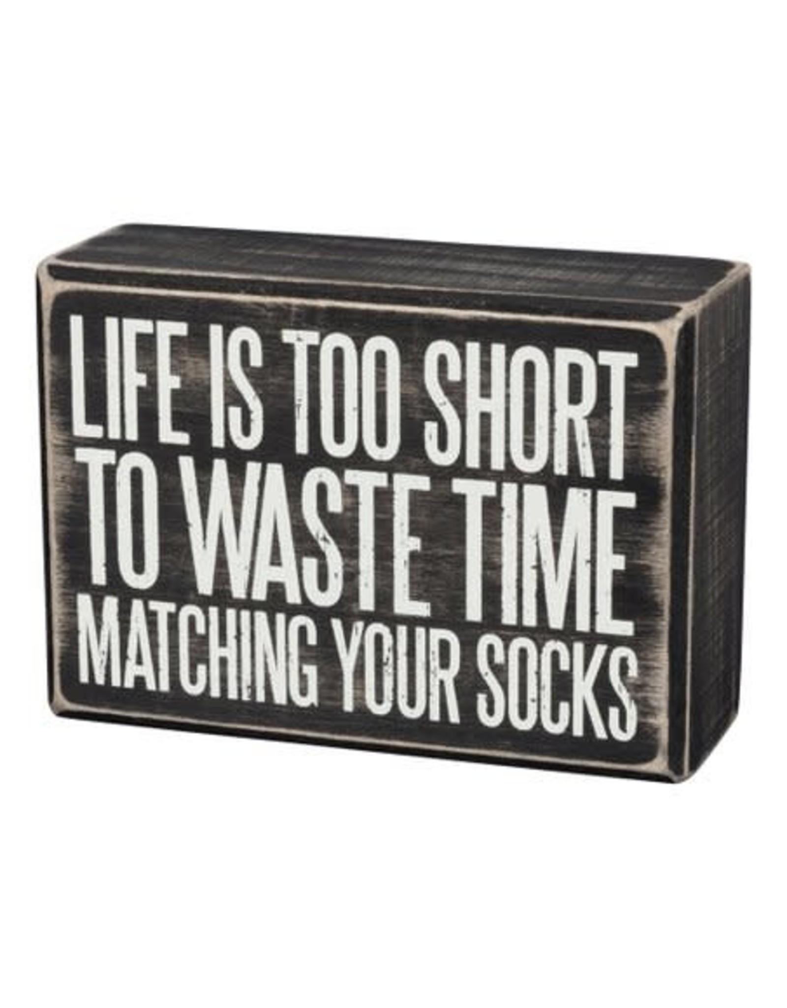 PRIMITIVES BY KATHY ATTITUDE BLOCK SIGNS LIFE TOO SHORT MATCHING SOCKS