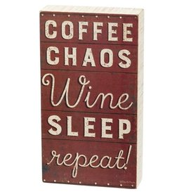 PRIMITIVES BY KATHY ATTITUDE BLOCK SIGNS COFFEE CHAOS WINE REPEAT