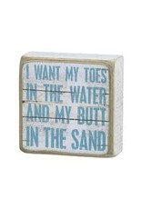 PRIMITIVES BY KATHY BEACH LOVER BLOCK SIGNS TOES IN WATER BUTT IN SAND