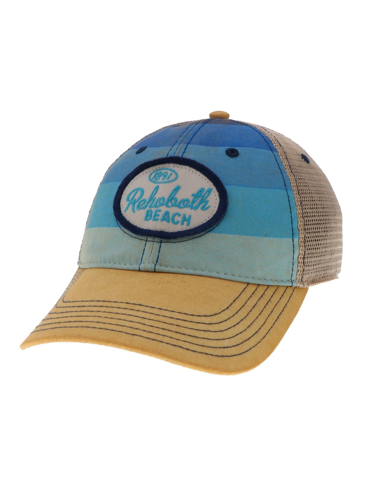 LEGACY ATHLETICS LEGACY OLD FAVORITE TRUCKER HAT BLUE STRIPE SPANKY OVAL