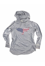 OUT OF HAND LIGHTWEIGHT WOMENS HOODIE SILVER AMERICANA WHALE