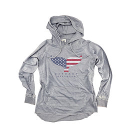 OUT OF HAND BETHANY LIGHTWEIGHT WOMENS HOODIE SILVER AMERICANA WHALE
