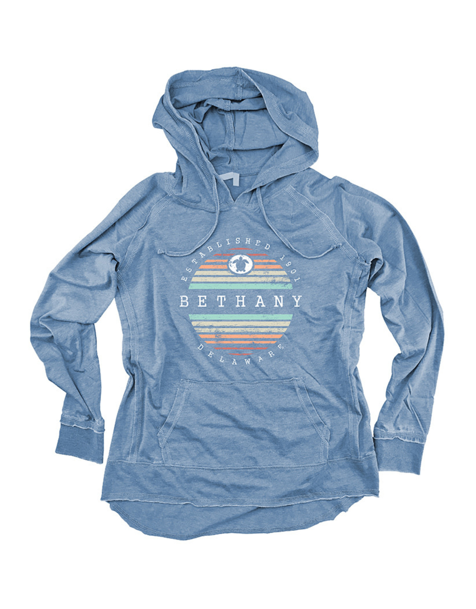 OUT OF HAND BETHANY LIGHTWEIGHT WOMENS HOODIE INDIGO STRIPE TURTLE
