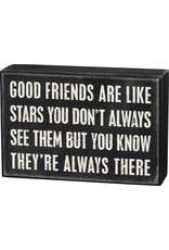 PRIMITIVES BY KATHY LOVED ONES BLOCK SIGNS GOOD FRIENDS ARE LIKE STARS