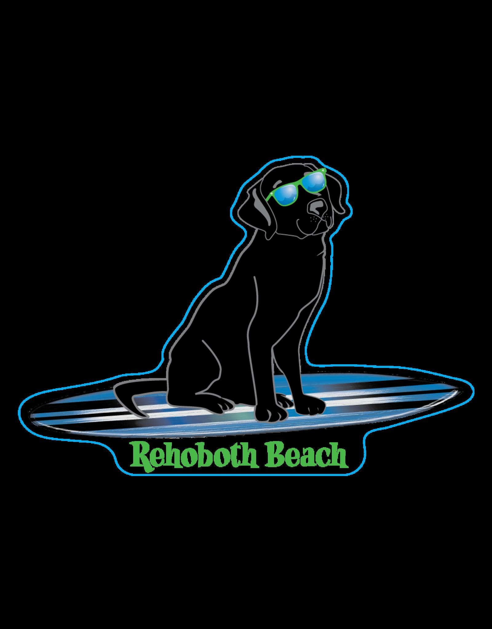 BLUE 84 ACRYLIC MAGNET HOLLER BACK SURFING BLACK LAB