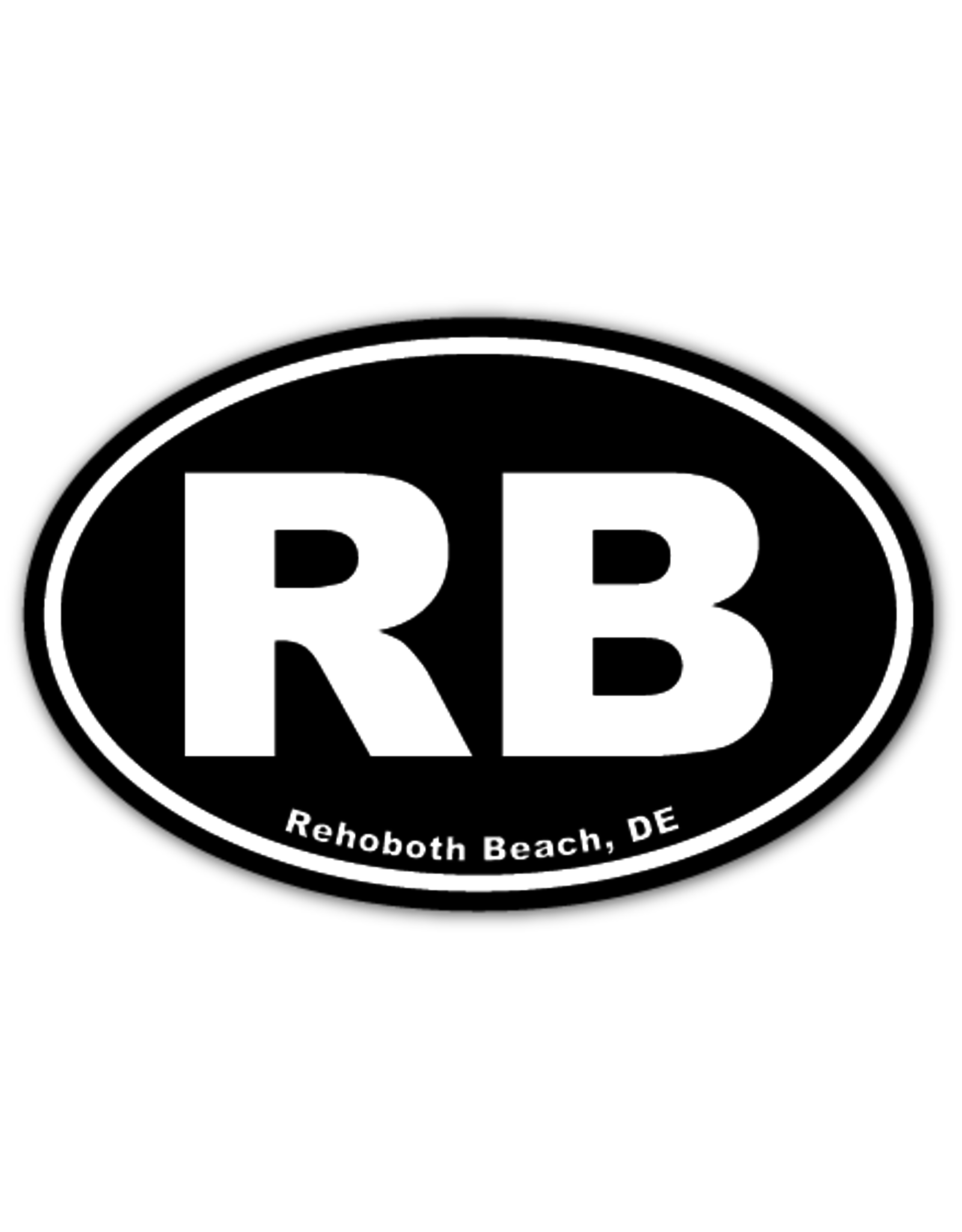 REHOBOTH LIFESTYLE EURO STICKER 5.75 x 3.875 OVAL REHOBOTH BEACH BLACK