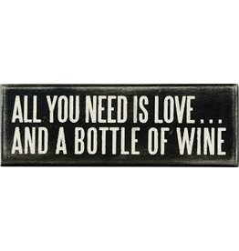 PRIMITIVES BY KATHY ATTITUDE BLOCK SIGNS LOVE AND BOTTLE OF WINE