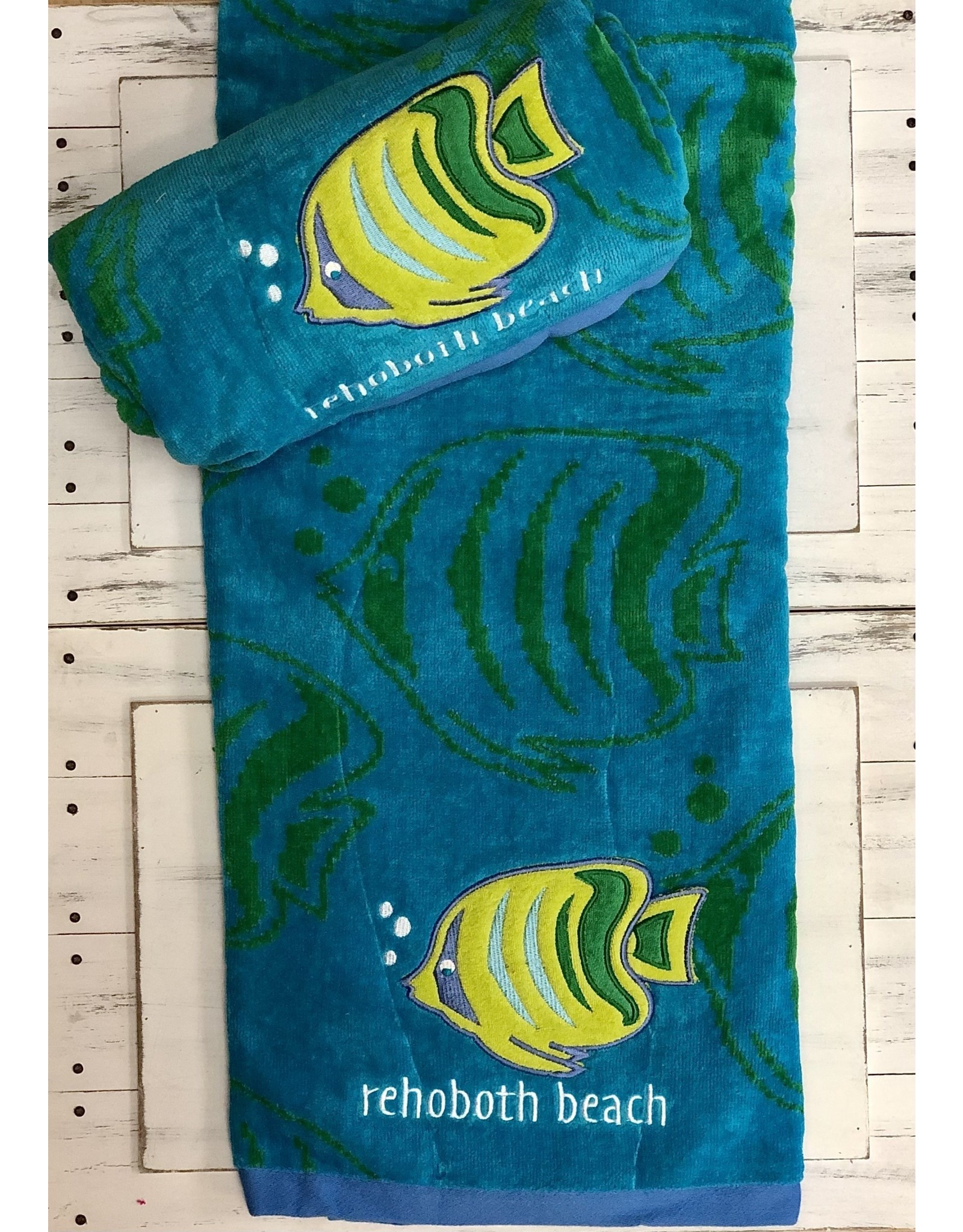 REHOBOTH LIFESTYLE EMBROIDERED BEACH TOWEL