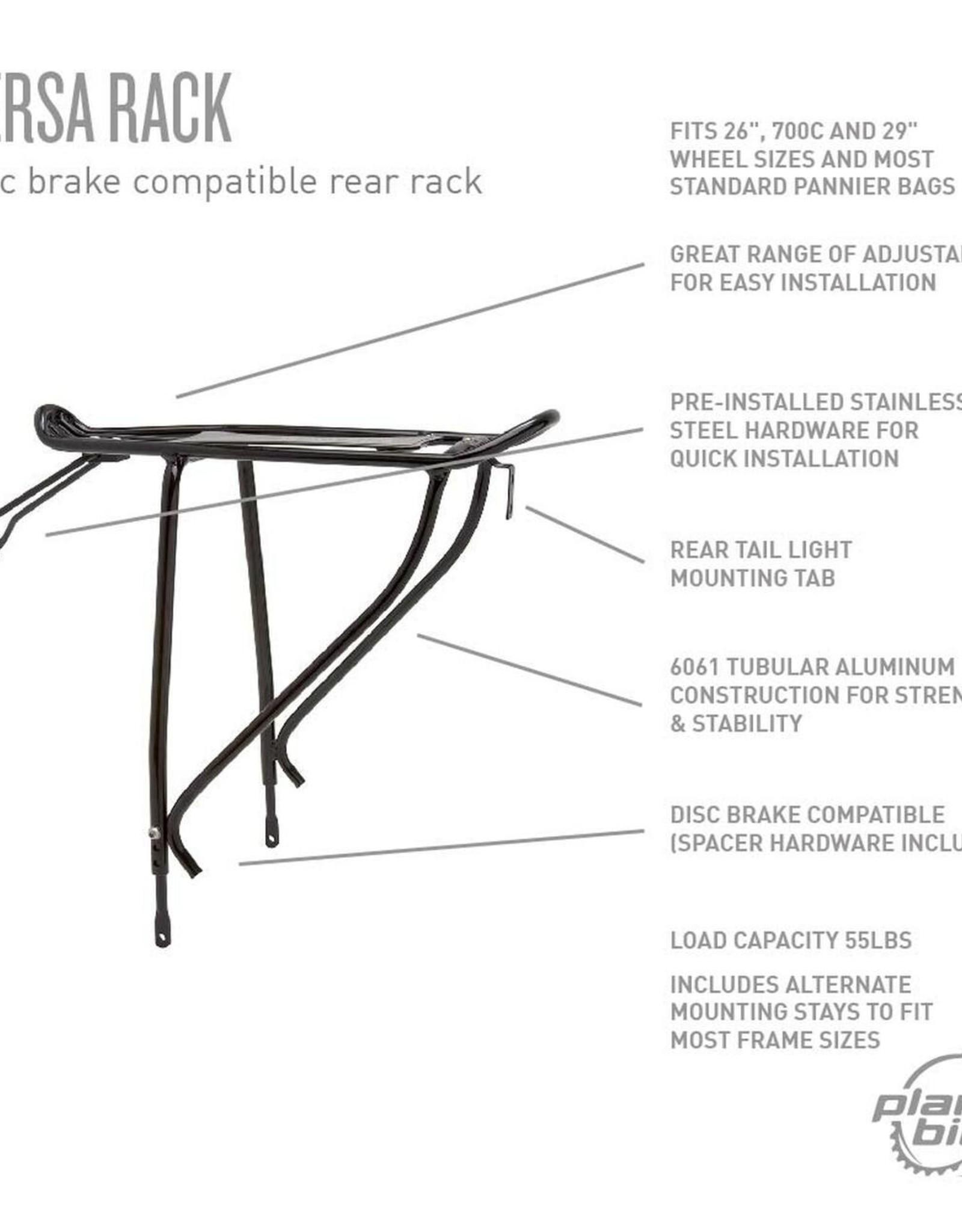 "Planet Bike Versa Disc Brake Compatible Rear Rack: Black. Fits up to 29"" wheels"