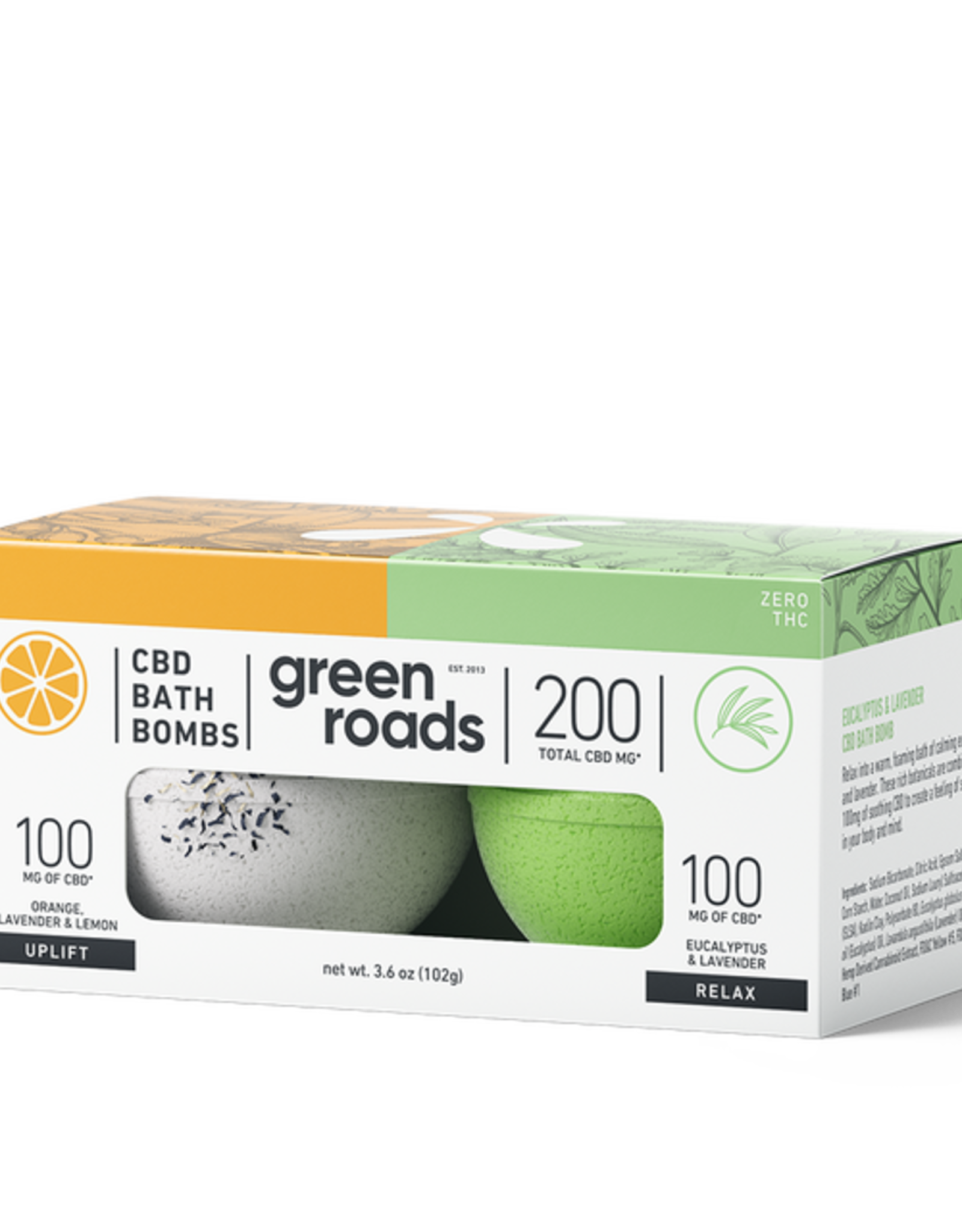 Green Roads Bath Bomb Duo - UPLIFT & RELAX -200mg