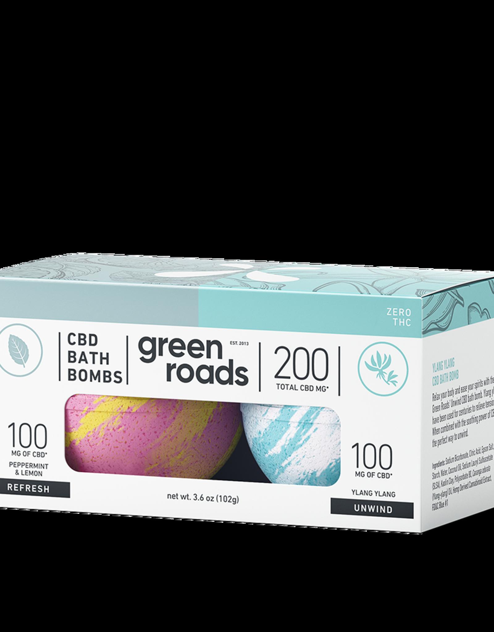 Green Roads Bath Bomb Duo - REFRESH & UNWIND- 200mg